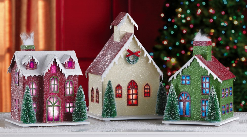 Lighted 3Pc Holiday Village Indoor Christmas Decoration