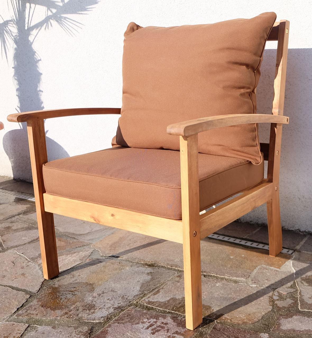 Design Sofa Sessel Gartensessel Gartenstuhl Sessel Holzsessel Gartenmöbel Holz Akazie wie Teak PALMA mit Sitzkissen von AS-S günstig kaufen