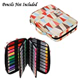BTSKY Portable Colored Pencil Case - Colored Pencil Organizer Holds 166 Pencils or 112 Gel Pens Large Capacity Zippered Pencil Holder Gel pens (Triangle) (Color: Triangle)