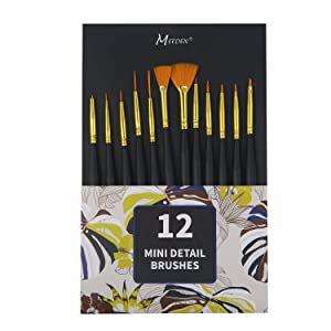 MEEDEN Micro Detail Paint Brush Set, 12 PCS Tiny Professional Detail Painting Kit Miniature Art Brushes for Watercolor Oil Acrylic, Craft Models Rock Painting