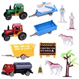 Farm Toys with Farm Animals ,Farm Tractors, Little Farm Peoples, Farm Trees, Road Block Accessories, Pack of 20 Pieces for Goodie Bags Fillers, Cake Topper, Pinata Filler, Xmas Toys for Kids
