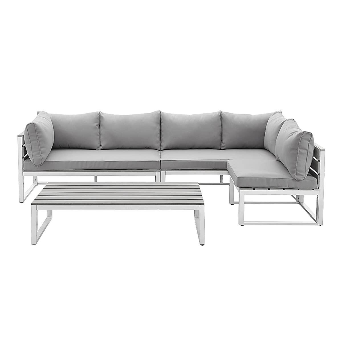WE Furniture All-Weather 4 Piece Patio Conversation Set, Grey