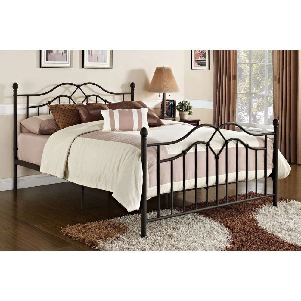 Queen metal bed frame bedroom dorm bronze furniture sturdy for Full size bed frame