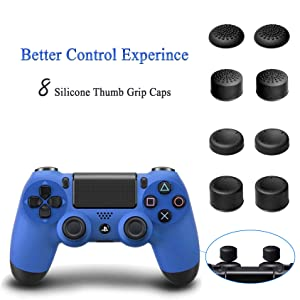 ADVcer PS4 Pro Vertical Stand with Dual Cooling Fan, Dual Controller Charging Station and 3 Extra USB Port for Playstation 4 Game Console, PS4 DualShock 4 Gamepad + 8 Controller Thumb Grip Cover Caps (Color: 01 PS4 PRO 4in1 Stand)