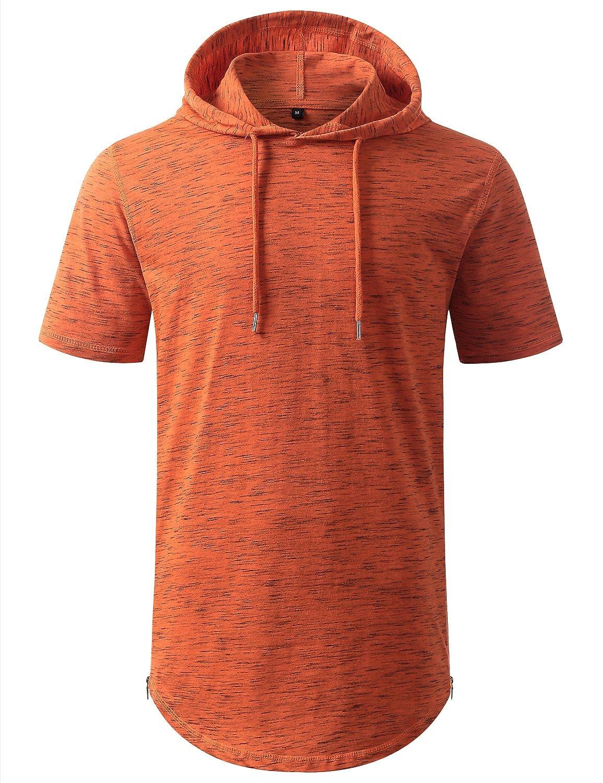 URBANCREWS Mens Hipster Hip Hop Longline Pullover Short Sleeve Hoodie Shirt