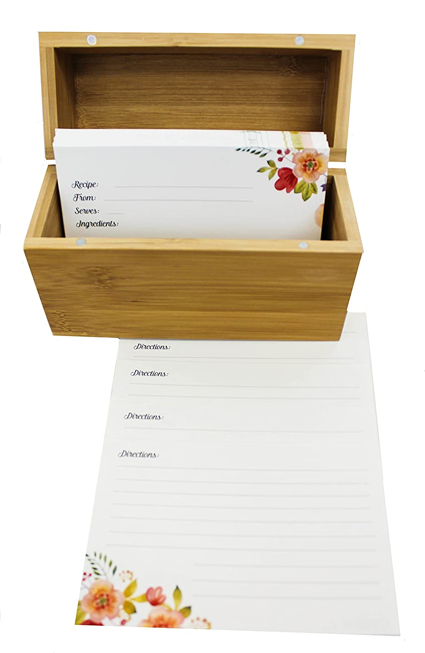 Bamboo Recipe Box Set With 100 Recipe Cards & 10 Blank Dividers | Holds Up To 200, 4x6 Cards | From Splendid Chef 3