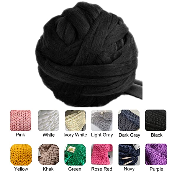 clootess Bulky Chunky Yarn Big Roving Wool for Hand Made Knitted DIY Sofa Bed Throw Blankets Black 11 lbs (Color: Black, Tamaño: 11 lbs)