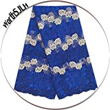 WorthSJLH African Lace Fabric 5 Yards 2019 Royal Blue French Tulle Lace Fabric Nigeria Lace with Beads Stones LF811 (Royal Blue) (Color: royal blue, Tamaño: 51 Inches)