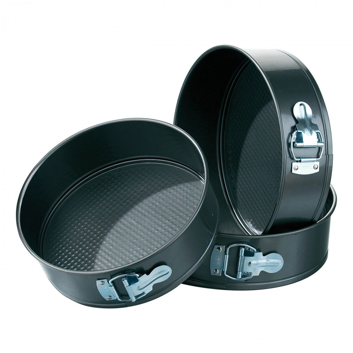 50% off or More On Bakeware By Amazon | Okayji Teflon Coated  Springform Cake Mould Pan Set, 3-Pieces, Black @ Rs.499