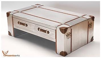 Phoenixarts–Mesa de café con cajones de estilo aluminio Industrial Retro mesa 499