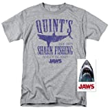 Jaws Movie Quints Shark Fishing T Shirt (XXXXX-Large) Grey (Color: Grey, Tamaño: 5X-Large)