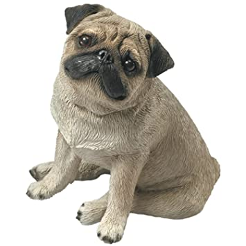 Z Gallerie Pug Sandicast Mid Size Fawn Pug