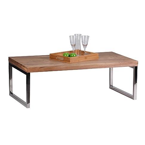 Wohnling Tavolino in legno massiccio di acacia 120cm di larghezza tavolo da salotto design/marrone scuro stile casa di campagna Tavolino Naturale Prodotto di soggiorno mobili unico moderno massivholzmöbel rettangolare in vero legno