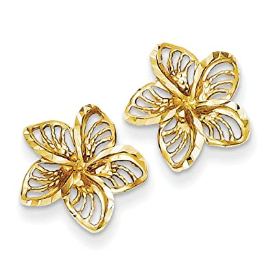 14ct Gold Diamond-Cut Filigree Plumeria Earrings
