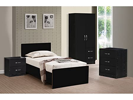 MARINA ULTRA HIGH GLOSS 3 PIECE TRIO BEDROOM SETS FURNITURE UNITS (BLACK GLOSS & BLACK ASH)