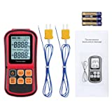 LiNKFOR Digital Thermometer Thermocouple Support Two K- Type Thermocouples K/J/T/E/R/S/N Type Dual-Channel LCD Backlight Temperature Meter Tester (Bat