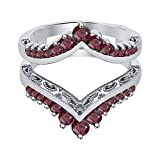 tusakha Excellent 1.04ctw Red Garnet 14k White Gold Plated Chevron Style Ring Wrap Jacket