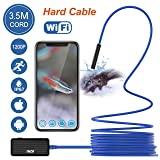 THZY Upgrade Wireless Endoscope 1200P HD 3.5m Snake Camera,Inspection Camera WiFi Borescope Waterproof IP67 with 2.0 Megapixels with 8 LED lightsfor iPhone iPad Android Phone, Tablet PC Blue (Color: Black, Tamaño: 11.5ft)