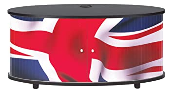Simmob print110no701 Union Jack Melamine 50.8 x 110,4 45.4 cm black wood TV stand/Panel