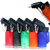 Pack of 5 Eagle Angle Torch 45 Degree Single Jet Flame Torch Lighter Windproof Refillable Lighter Assorted Color (Color: Assorted)
