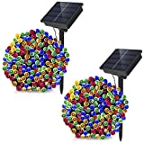Dolucky 72ft 21m 200LED Solar Powered String Lights 8modes Solar Fairy Lights, Waterproof Christmas String Lights for Outdoor Garden Party Wedding Decoration (Multicolor, 2 Pack) (Color: Multicolored-1P)