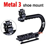 Zeadio Video Action Stabilizing Handle Grip Handheld Stabilizer with Metal Triple Shoe Mount for Canon Nikon Sony Panasonic Pentax Olympus DSLR Camera