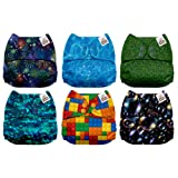 Mama Koala One Size Baby Washable Reusable Pocket Cloth Diapers, 6 Pack with 6 One Size Microfiber Inserts (Texture Magic) (Color: Texture Magic, Tamaño: One Size)