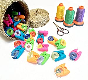 CKANDAY 52 Pieces Bobbin Holders Thread Buddies/Bobbin Holder Clips/Bobbin Thread Clamps/Peel Thread Spool Huggers Keeping/Multipurpose Sewing Clips f