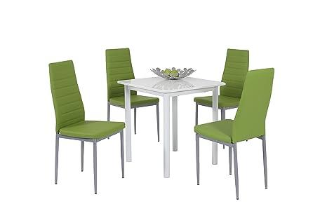 Apollo 811105 Essgruppe Anna, Quadratischer Tisch und 4-er Pack Stuhle, Dekor weiß hochglanz apfelgrun