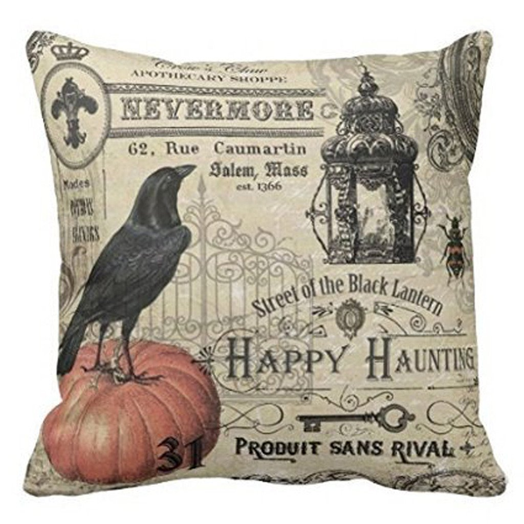 HLPPC Modern Vintage Halloween Pumpkin and Crow Throw Pillows Cover 18 x 18 Inches 0