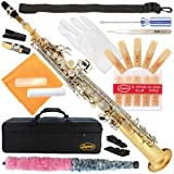 300-LN - GOLD Body/Silver KeysBb STRAIGHT SOPRANO Saxophone Sax Lazarro with CURVED and STRAIGHT NECKS+11 Reeds,Care Kit - 22 COLORS - SILVER or GOLD KEYS - CHOOSE YOURS ! (Color: LACQUER/NICKEL Keys)