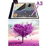 WUXINGMEILI DIY 5D Diamond Painting Full Drill with Ultra-Thin Portable A3 LED Light Pad Light Board Box Kits for Adults Kids (Love Tree Diamond Painting Kits) (Color: A3 pad+tree Painting)