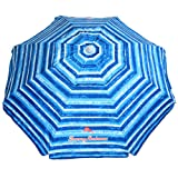 Tommy Bahama Sand Anchor 7 feet Beach Umbrella with Tilt and Telescoping Pole (Blue/White) (Color: Blue/White, Tamaño: 7 ft Canopy)