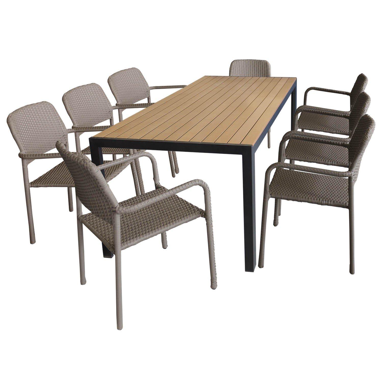 9tlg. Gartengarnitur – Gartentisch mit brauner Polywood Tischplatte 205x90cm + 8x Rattan Stapelstuhl Taupe mit hochwertiger Polyrattanbespannung – Sitzgarnitur Sitzgruppe Gartenmöbel Terrassenmöbel Set bestellen