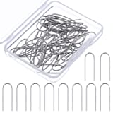 Tatuo 60 Pieces High Temperature Nichrome Wire Jump Rings, U Hanger Hooks for Pendant, Ceramic Ornaments, Fusing in Glass, 21 Gauge with a Plastic Storage Box