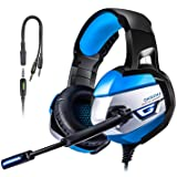 Gaming Headset for PS4 TUSBIKO Gaming Headphones with Noise Cancelling Microphone Bass Surround Sound LED Lights (Black?)