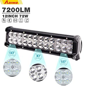 AAIWA LED Light Bar 12Inch 72w Driving Fog Light Flood Spot Combo Beam LED Bar IP68 Waterproof for Off Road Vehicle ATV SUV UTV 4WD Boat Jeep LED Lights,2 Years Warranty