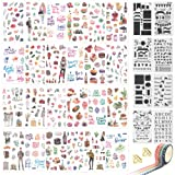 1000Art Planner Stickers and Accessories(42 PCS) Bujo Supplies Set Include Journal Stickers,Stencils,Washi Tapes and Paper Clips (Color: Life BuJo kit - A)