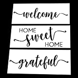 AZDIY Reusable Stencil Set - Home Sweet Home, Welcome, Grateful Stencils - Word Stencils for Painting on Wood- Laser Cut Painting Stencil - for Home Décor & DIY Projects (Tamaño: Home Sweet Home, Grateful, Welcome)