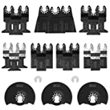 CHISTAR Oscillating Saw Blades, 28 Pieces Professional Metal Wood Multitool Quick Release Saw Blades, Universal Oscillating Tool Blades Fit Craftsman, Dewalt, Milwaukee, Rockwell, Ryobi and More (Tamaño: 28 pack)