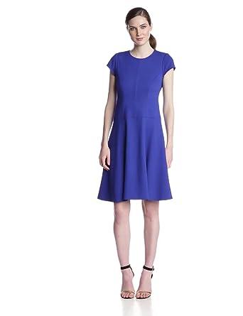 Nanette Lepore Women's Ocean Mist Ponte Cap Sleeve Fit and Flare Dress, Royal Blue, 4