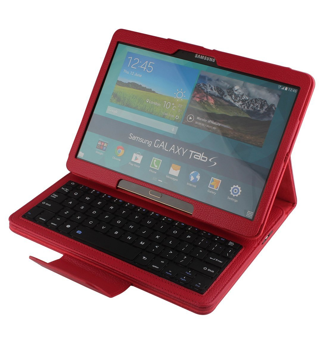 DEENOR Samsung Galaxy Tab S 10.5 Case with Bluetooth Keyboard   Ultra Slim Detachable Wireless Bluetooth Keyboard Portfolio Leather Case Cover for Samsung Tab S 10.5  Inch SM T800 SM T805 Tablet (RED)Customer review and more description