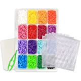Perler Beads Kit - Tray of 16 Fun Color Perler Fuse Beads (4000 beads) With Four Clear Square Pegboard Set Plus a Bead Tweezers and Two Fusion Ironing Paper
