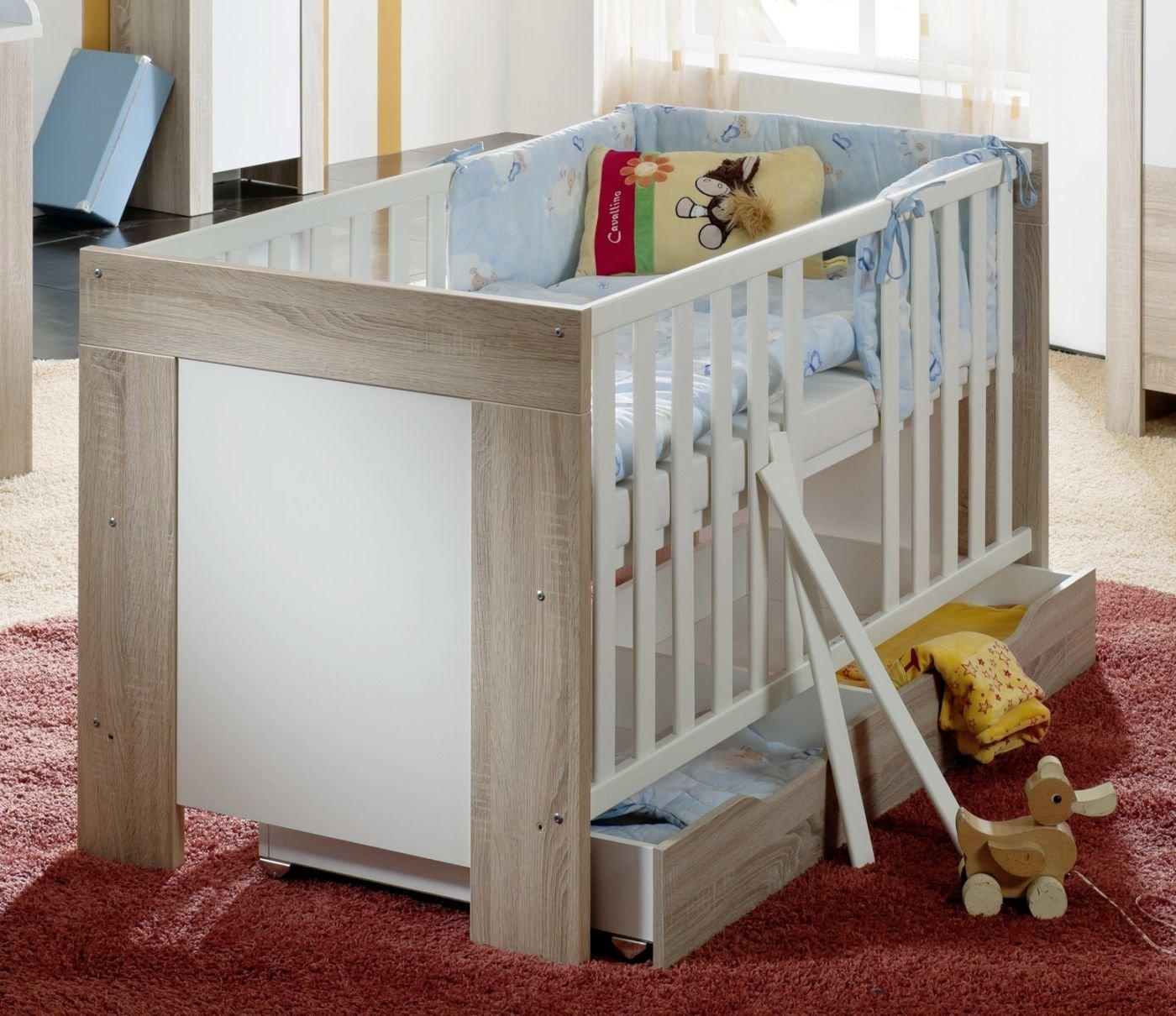 Ben Kinderbett mit 3 Schlupfsprossen inkl. Seitenteile und 3-fach verstellbaren Lattenrost in eiche sägerau / weiss matt (E1 Spanplatten) jetzt kaufen