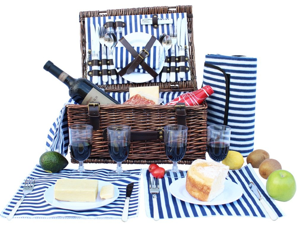 INNO STAGE Wicker Picnic Basket for 4, Willow Storage Hamper Service Gift Set for Camping and Outdoor Party