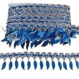 MELADY Pack of 10yards Sequins Leaves Hanging Tassel Lace Dance Clothing Accessories Fringe Trim (Blue) (Color: blue)