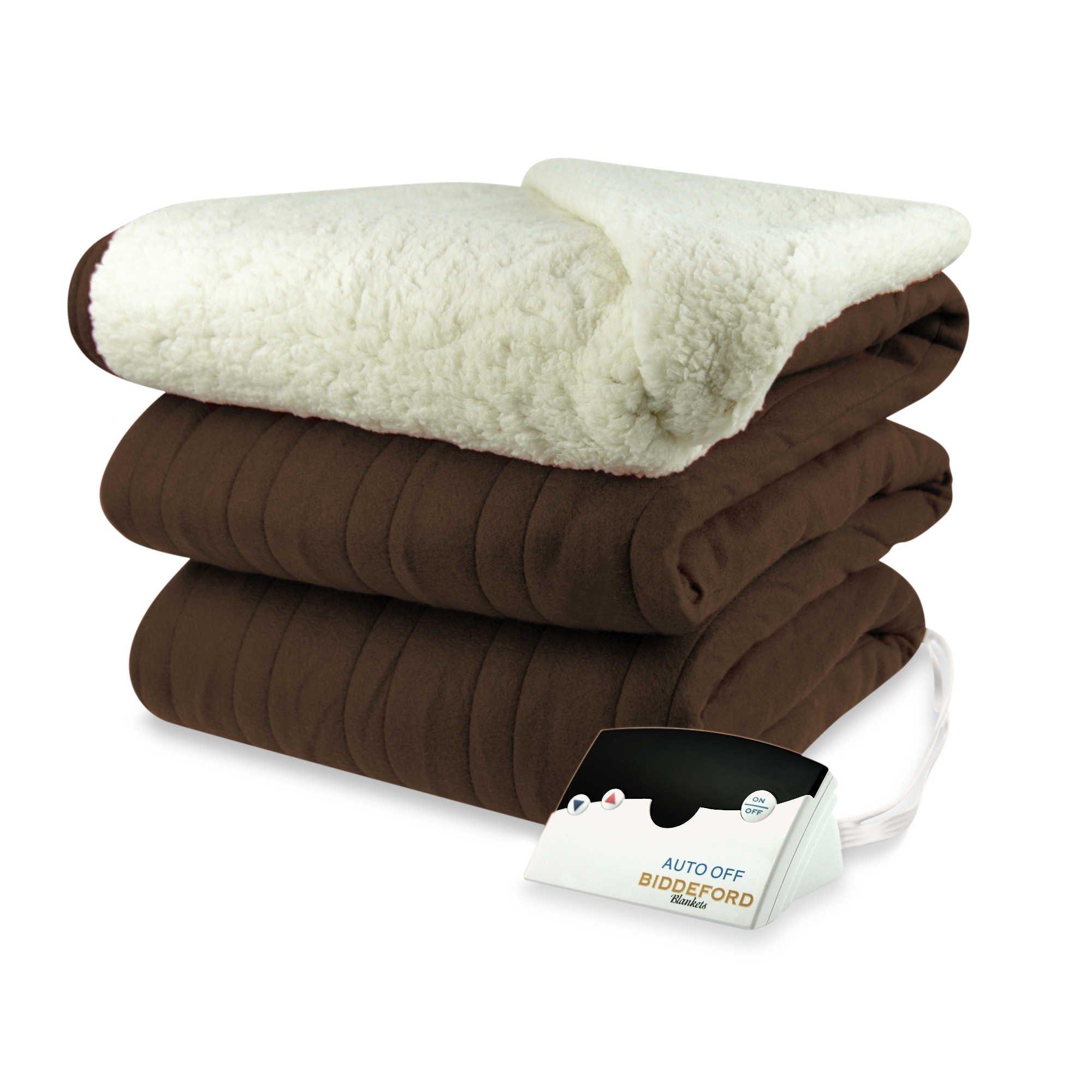 biddeford blankets microplush comfort knit sherpa heated. Black Bedroom Furniture Sets. Home Design Ideas