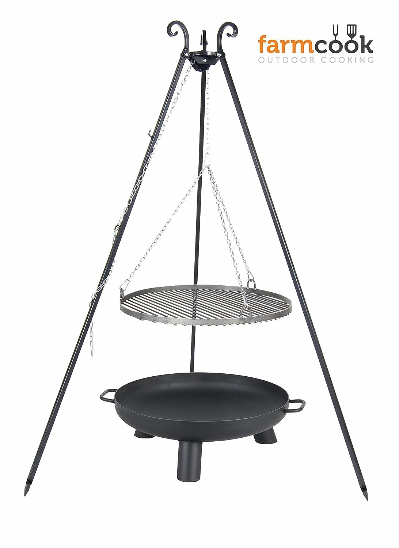 Dreibein mit Rost aus Rohstahl 70 cm und Feuerschale Pan 37 80 cm online bestellen