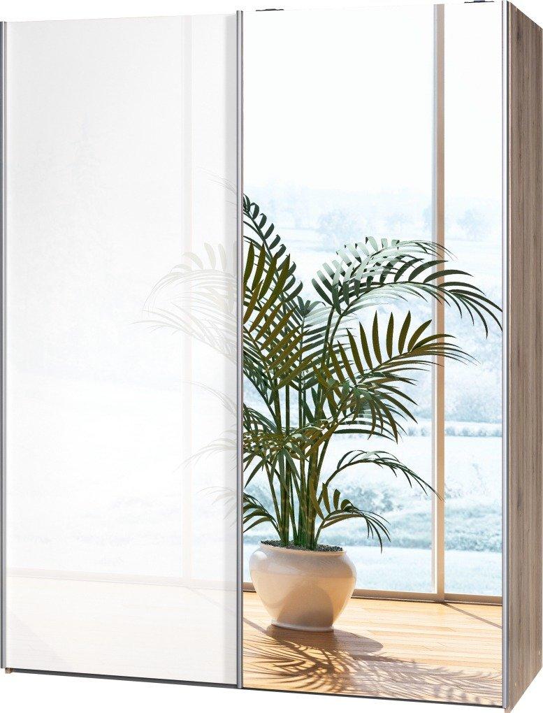 Schwebetürenschrank Soft Plus Smart Typ 43″, 150 x 194 x 61cm, Sanremo hell/Weiß hochglanz/Spiegel