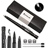ANIKUV Tactical Survival Pen Multi Use Tactical Pen,Multi Tool, Precision Writing, Glass Breaker, LED Tactical Flashlight (Black Ink) (Color: Black)